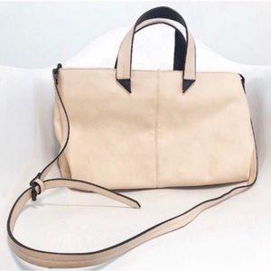 Zara. Vegan leather Cream & black piping purse